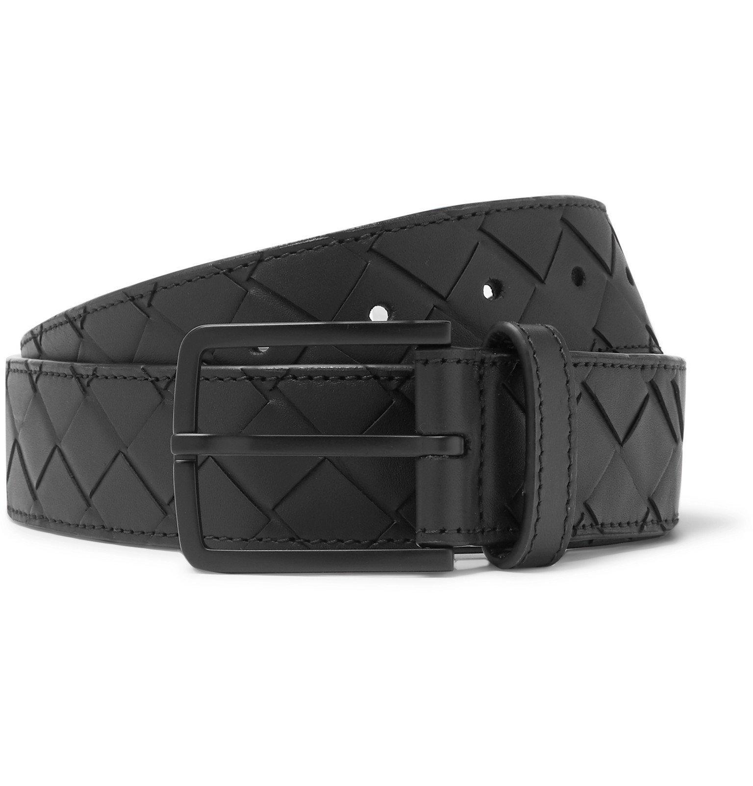 Photo: Bottega Veneta - 3.5cm Intrecciato Leather Belt - Black