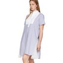 Sacai Blue and White Stripe Shirting Side Pleats Dress
