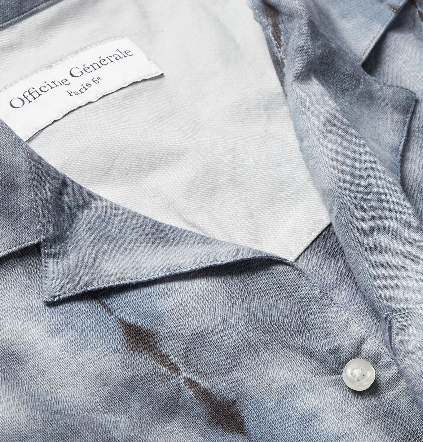 Officine Generale - Dario Camp-Collar Tie-Dyed Cotton Shirt - Gray