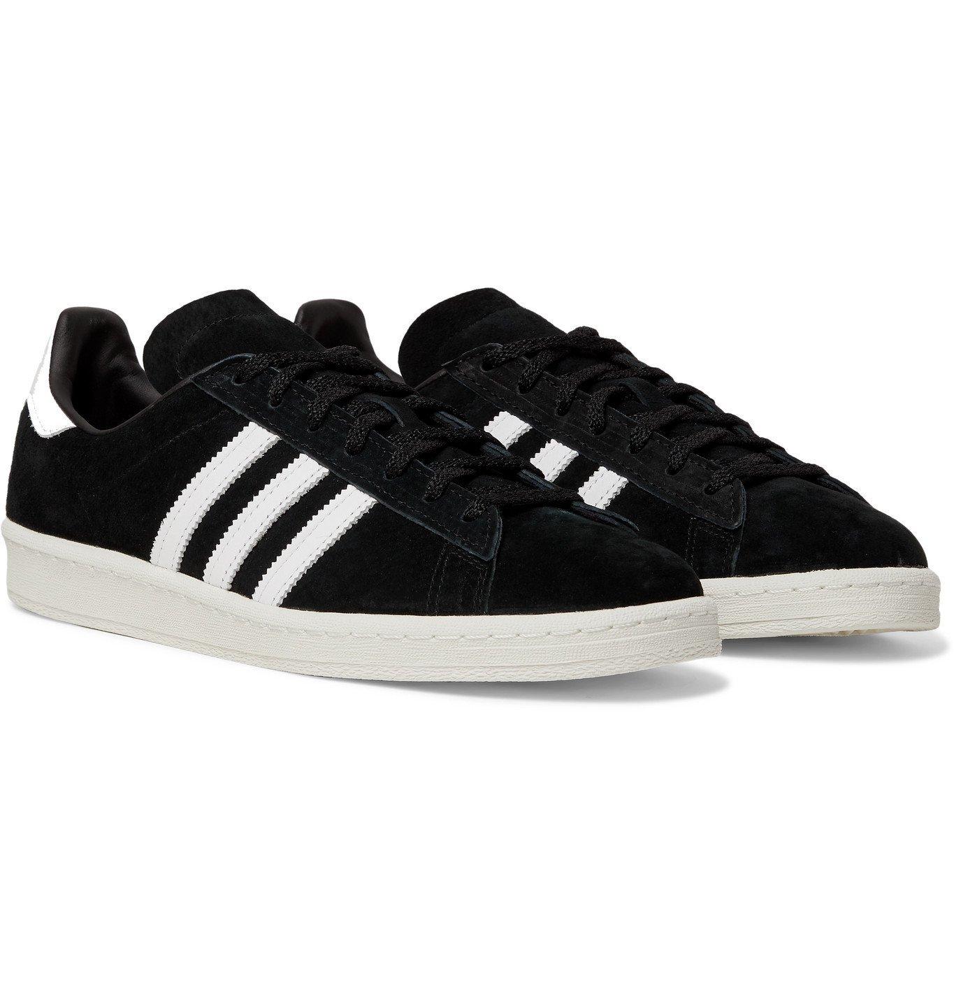 ADIDAS ORIGINALS - Campus 80s Leather-Trimmed Suede Sneakers - Black