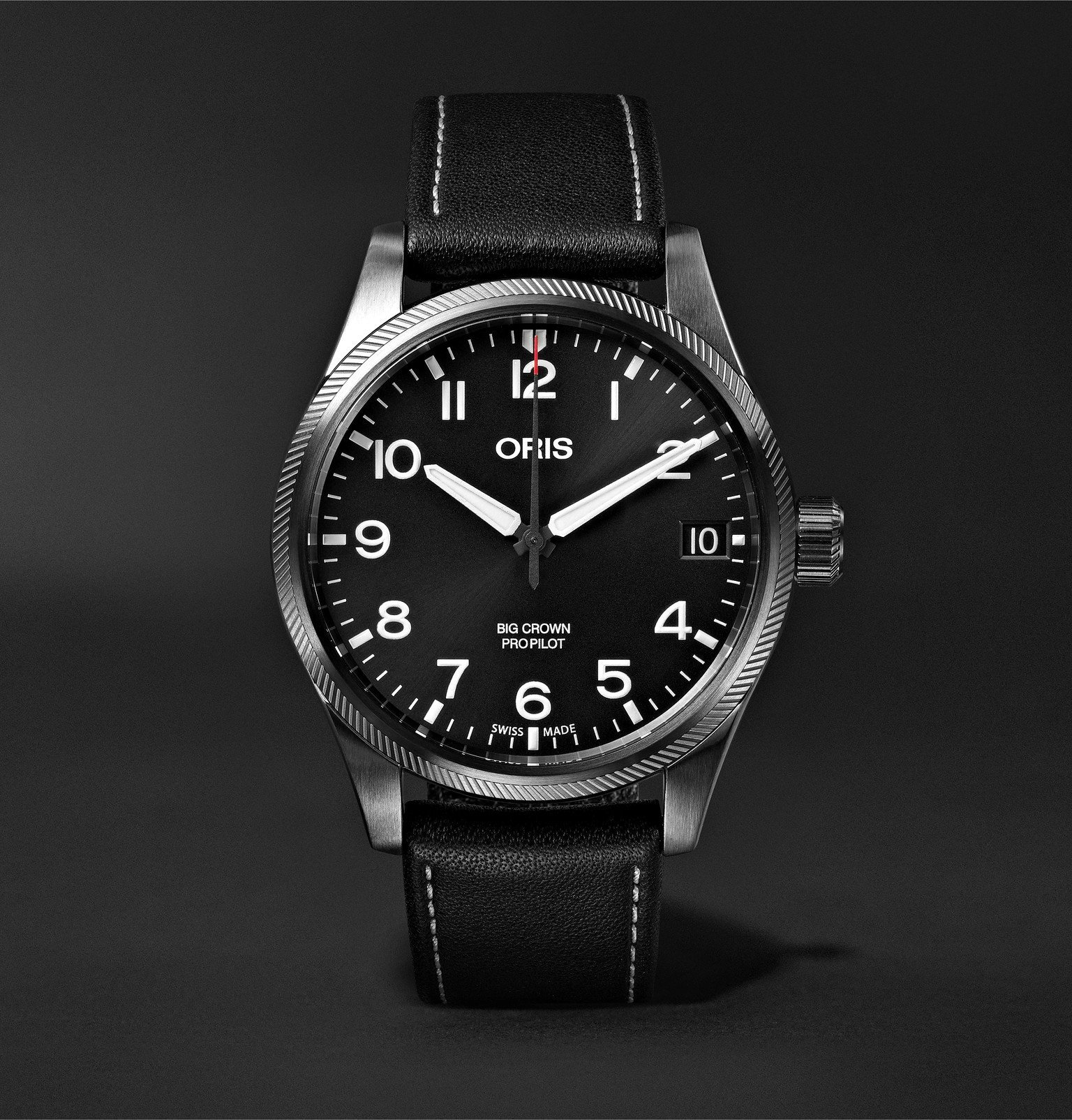 Photo: Oris - Big Crown Pro Pilot Automatic 41mm Stainless Steel and Leather Watch - Black