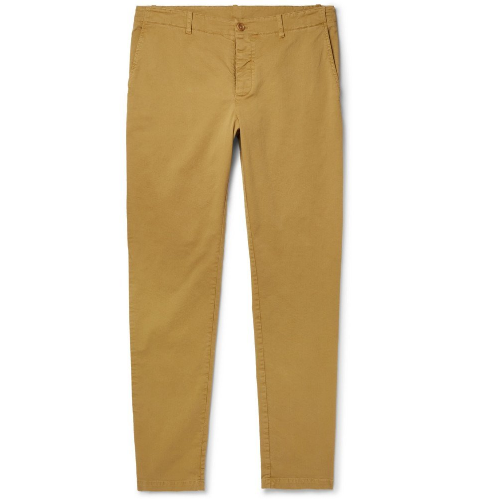 Photo: YMC - Slim-Fit Tapered Cotton-Blend Twill Trousers - Men - Beige