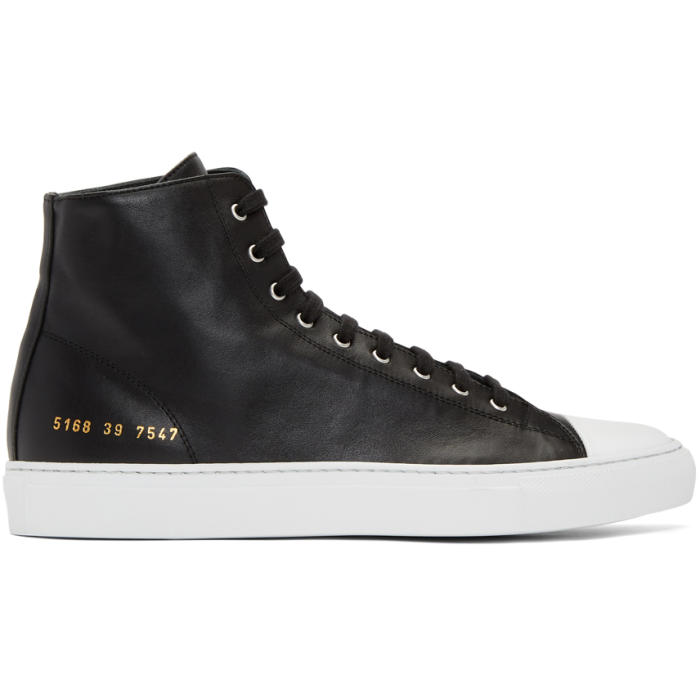 Common Projects Black and White Tournament High Cap Toe Sneakers