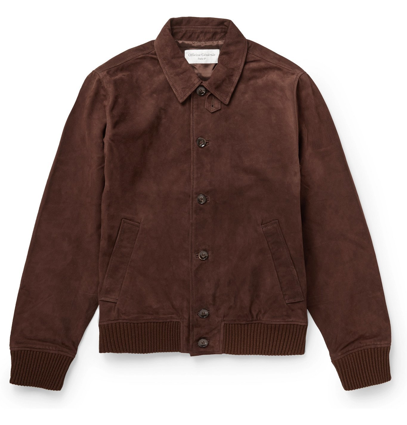 Photo: Officine Generale - Valentin Suede Bomber Jacket - Brown
