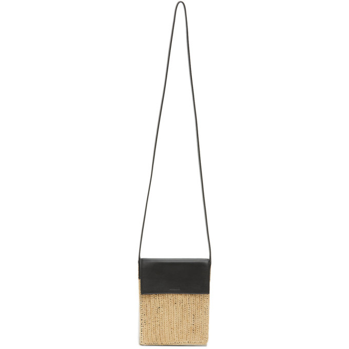 Photo: Jil Sander Black and Beige Raffia Messenger Bag