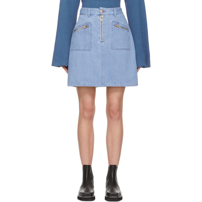Photo: Won Hundred Blue Denim Erica Miniskirt