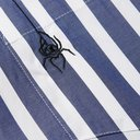 Sacai - Dr. Woo Embroidered Corduroy-Trimmed Striped Cotton Shirt - Blue