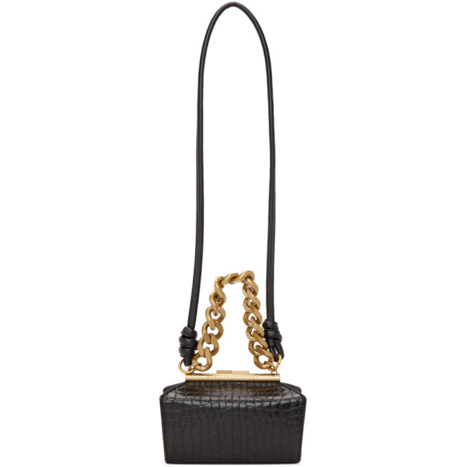 Stella McCartney Black Croc Small Chunky Chain Bag
