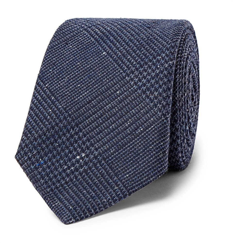 Photo: Brunello Cucinelli - Prince of Wales Checked Silk and Wool-Blend Tie - Navy