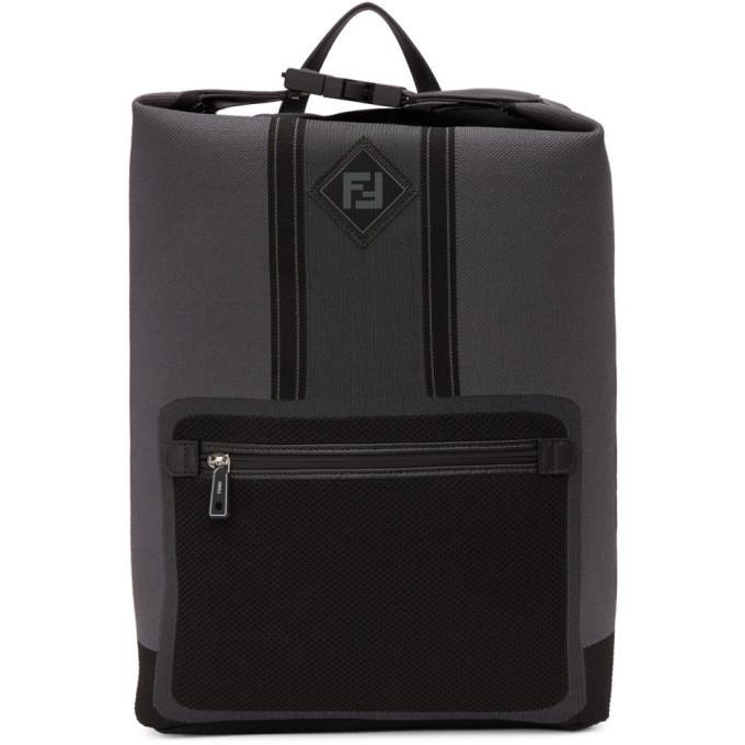 Photo: Fendi Black and Grey Tech Knit Forever Fendi Backpack