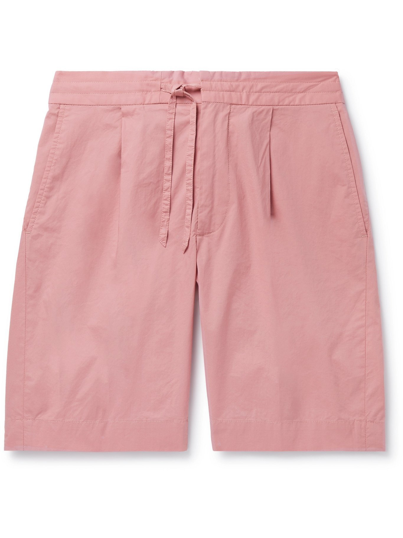 Photo: INCOTEX - Pleated Cotton-Blend Popelino Drawstring Shorts - Pink
