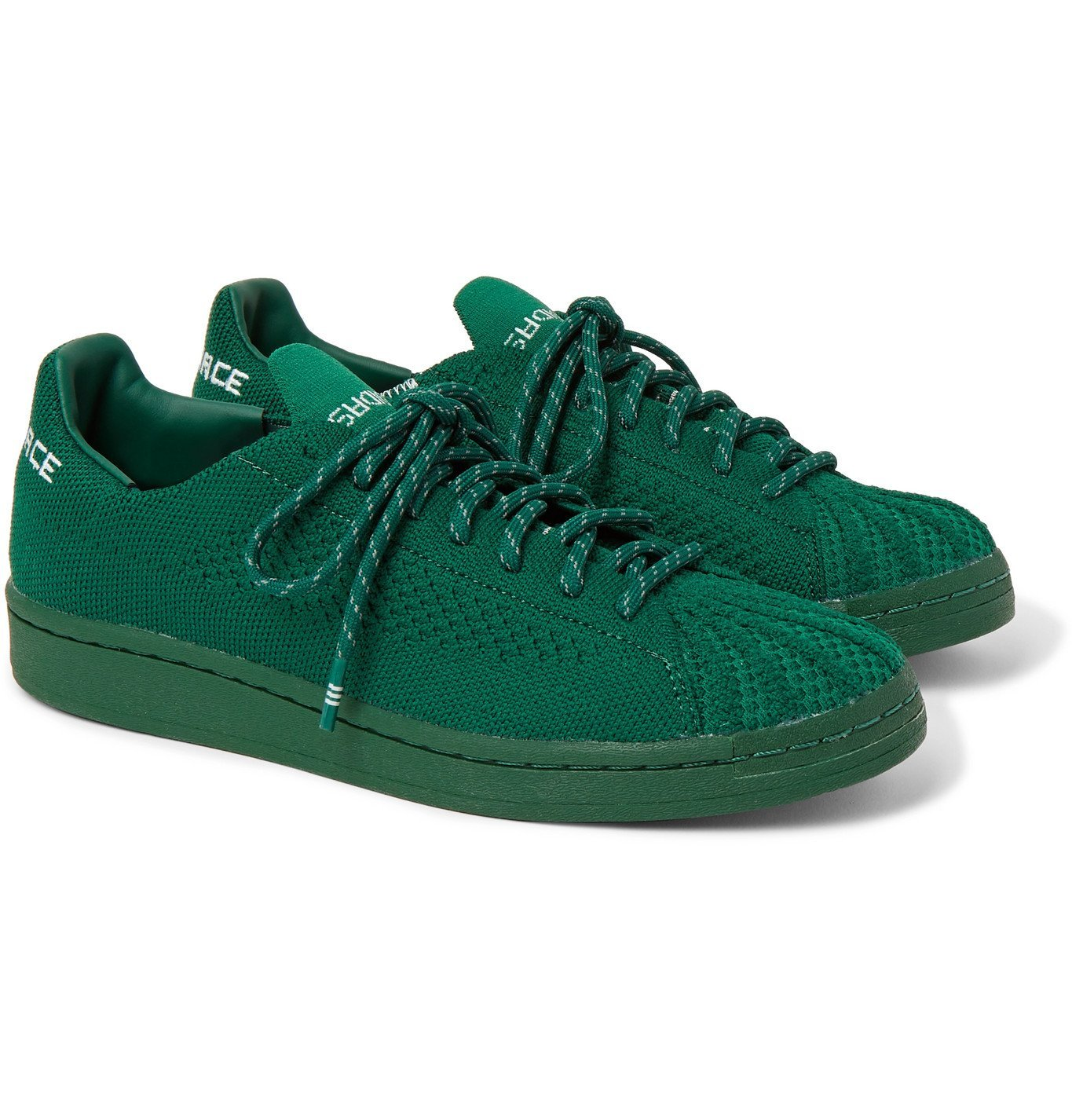 Photo: ADIDAS ORIGINALS - Pharrell Williams Superstar Embroidered Primeknit Sneakers - Green
