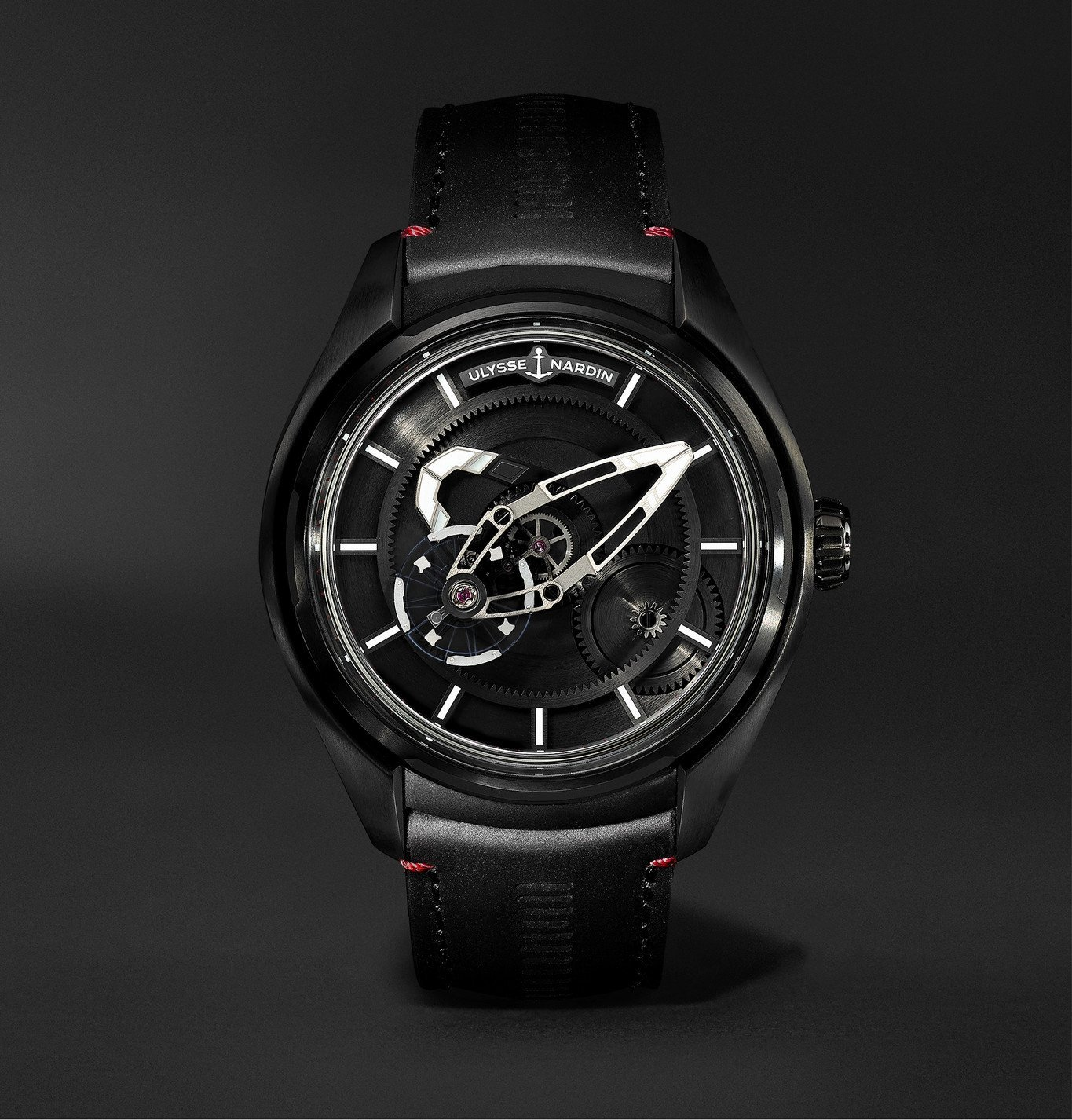 Photo: Ulysse Nardin - Freak X Ti Automatic 43mm Titanium and Leather Watch, Ref. No. 2303-270.1 - Black