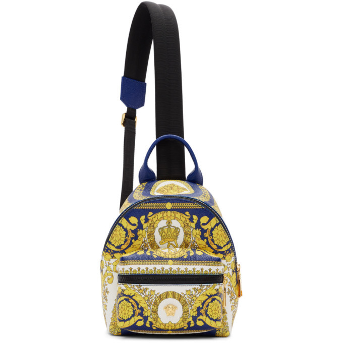 Photo: Versace Blue Leather Barocco Backpack
