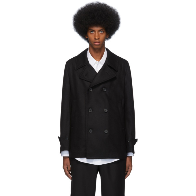 Photo: Comme des Garcons Shirt Black Wool Broadcloth Workstitch Peacoat