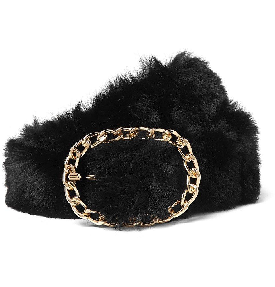 Martine Rose - 4cm Faux Fur Belt - Black