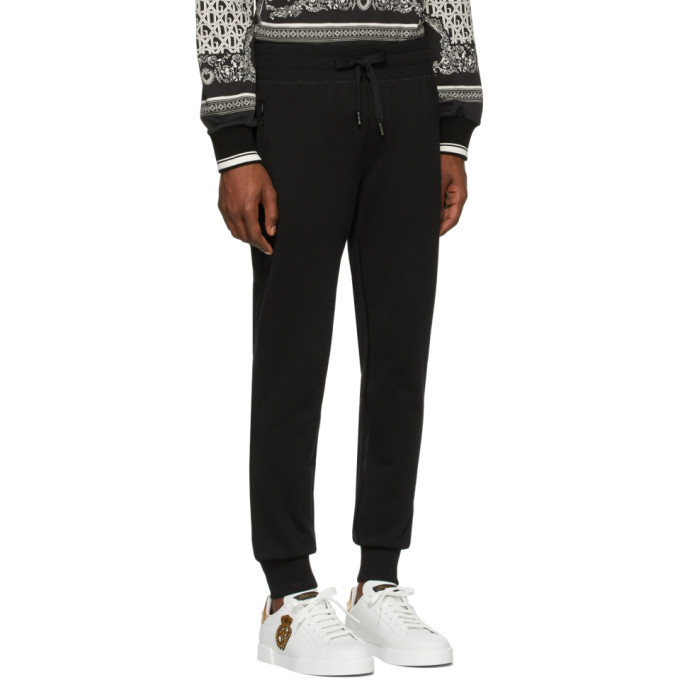 Dolce and Gabbana Black Logo Plaque Sweatpants