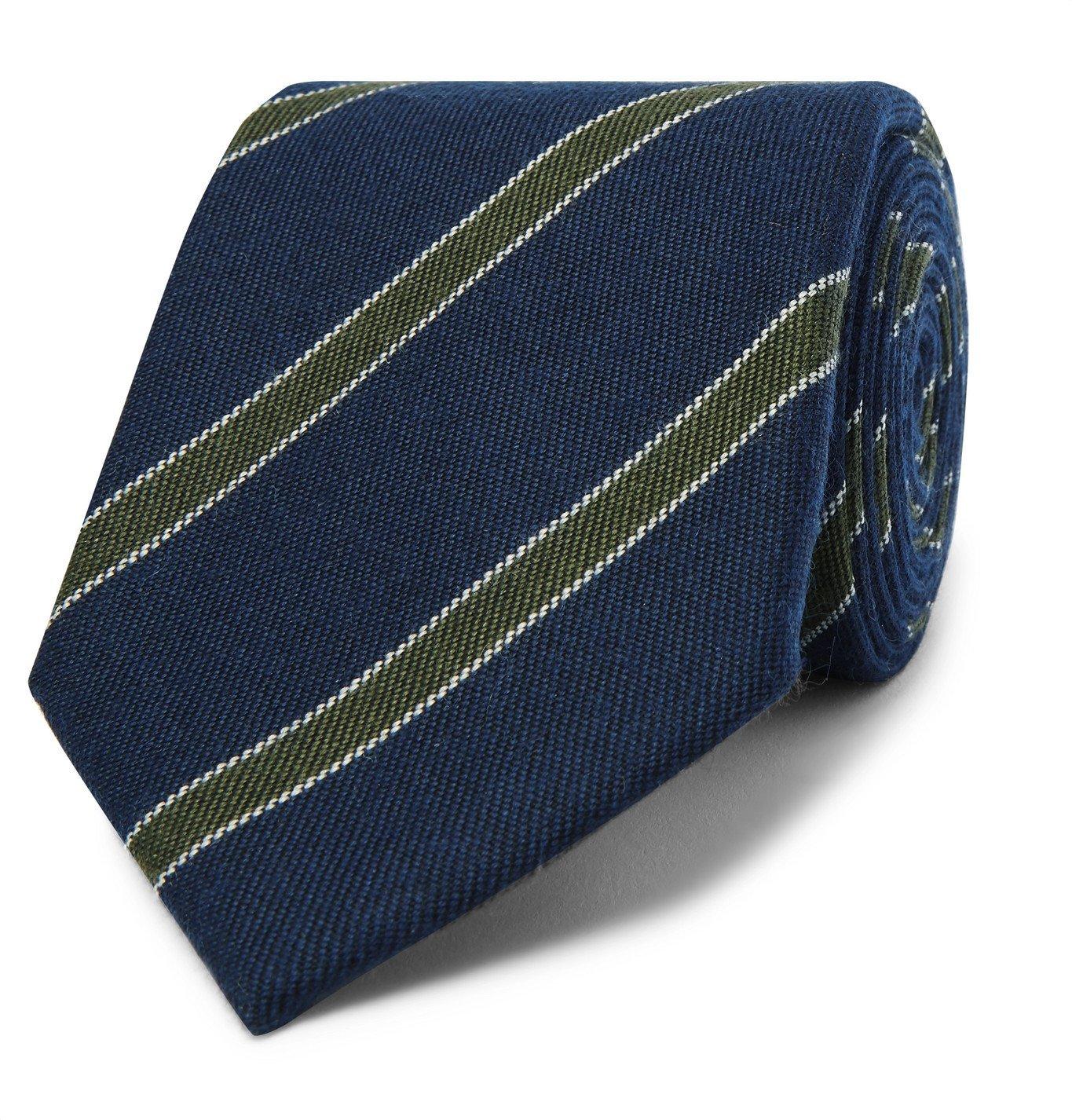 Photo: Bigi - 9cm Striped Cashmere-Jacquard Tie - Blue