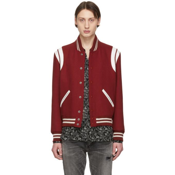 Photo: Saint Laurent Red Wool Teddy Bomber Jacket