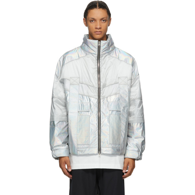 Photo: JERIH Silver Iridescent Color Block Jacket