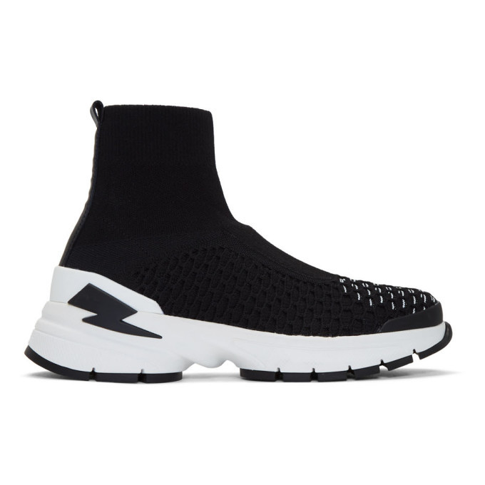 Photo: Neil Barrett Black and White Molecular Knit Sock Sneakers