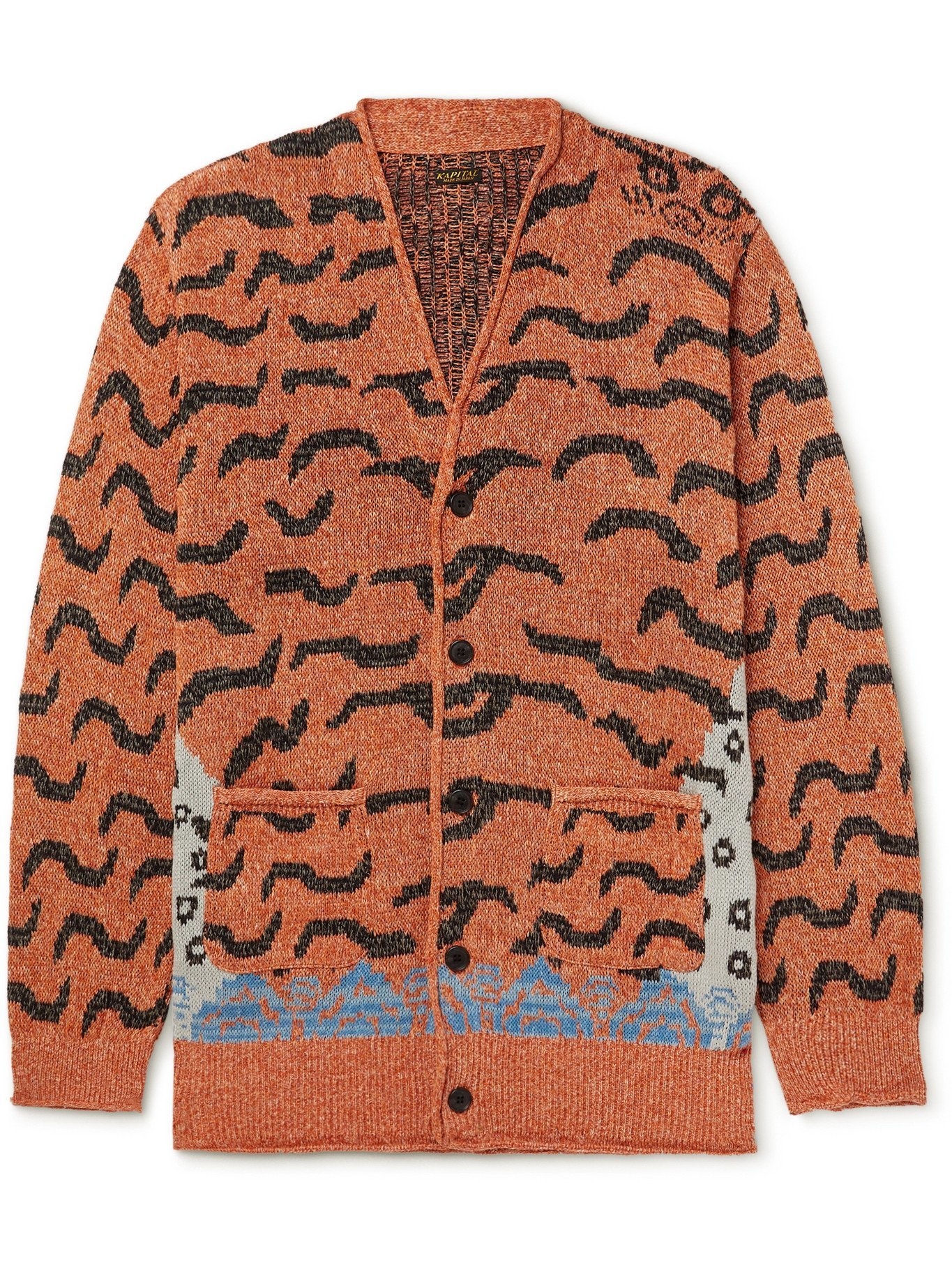 KAPITAL - Jacquard-Knit Cardigan - Orange - 3