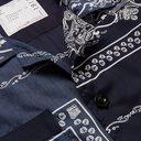 Sacai - Camp-Collar Printed Matte-Satin and Woven Shirt - Men - Navy