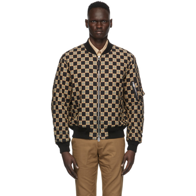 Photo: Burberry Black and Beige Checkered Brookland Bomber Jacket