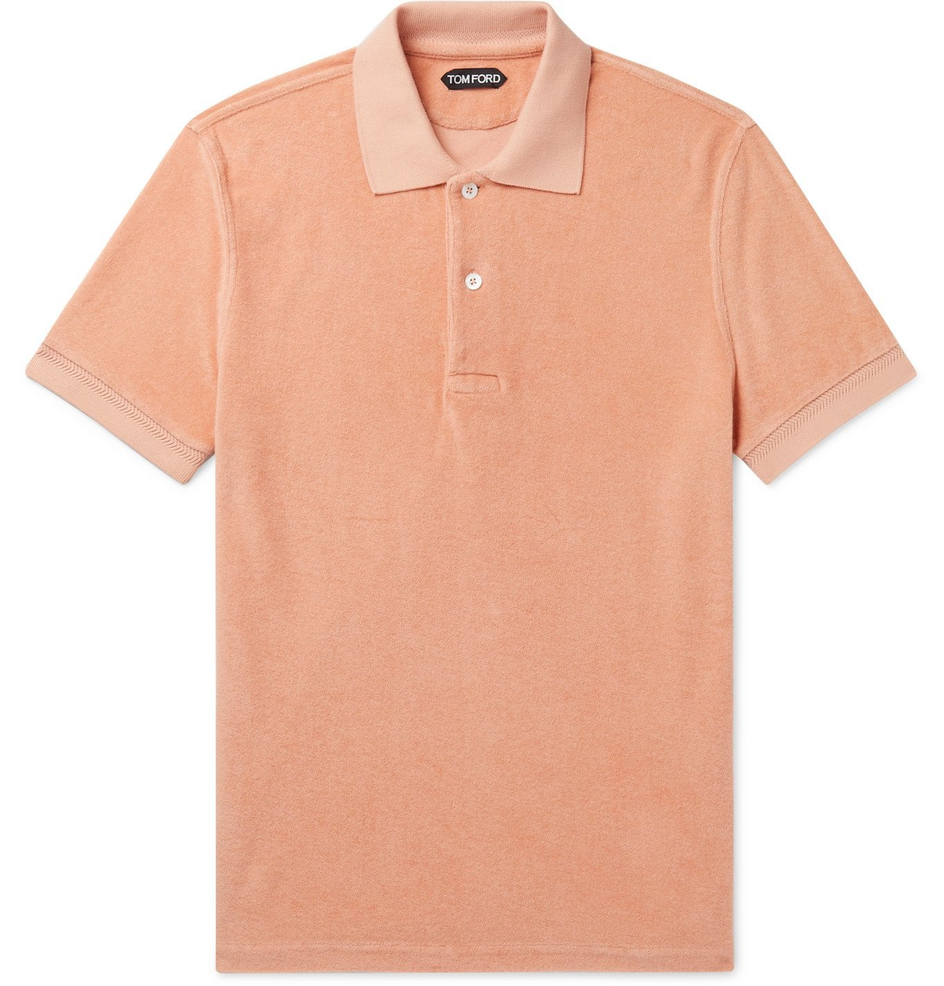 Photo: TOM FORD - Slim-Fit Cotton-Terry Polo Shirt - Orange