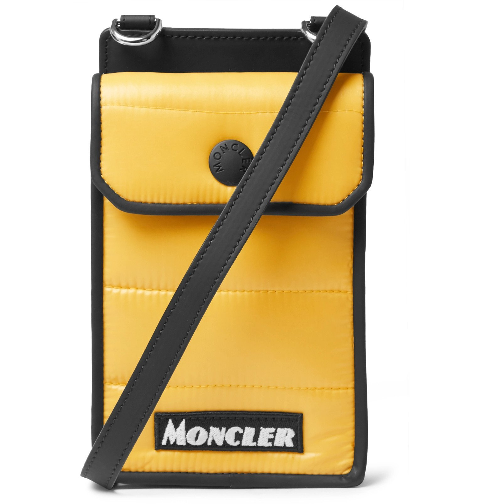 Photo: Moncler - Mini Quilted Coated-Canvas Messenger Bag - Yellow