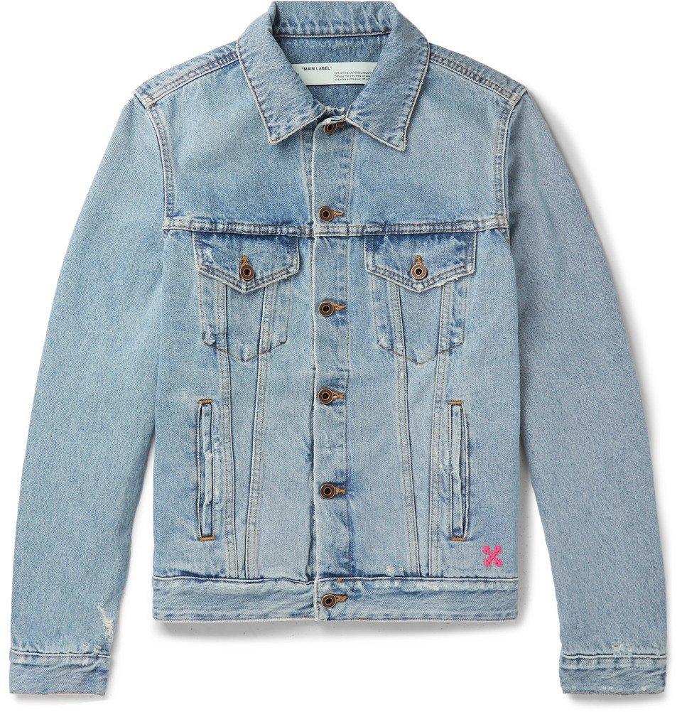 Photo: Off-White - Slim-Fit Logo-Print Denim Jacket - Blue