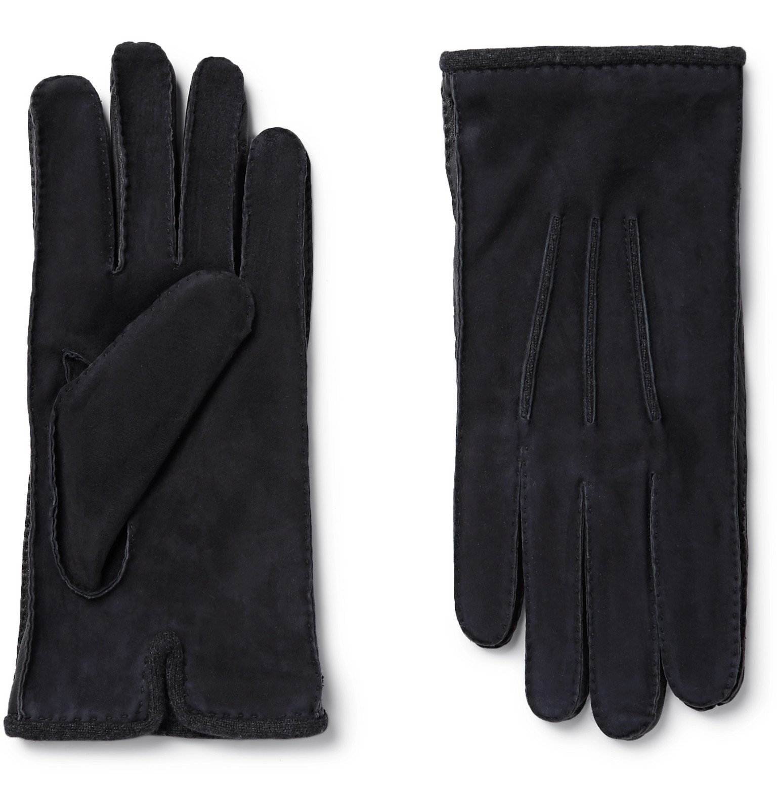 Photo: Loro Piana - Damon Baby Cashmere-Lined Suede Gloves - Blue