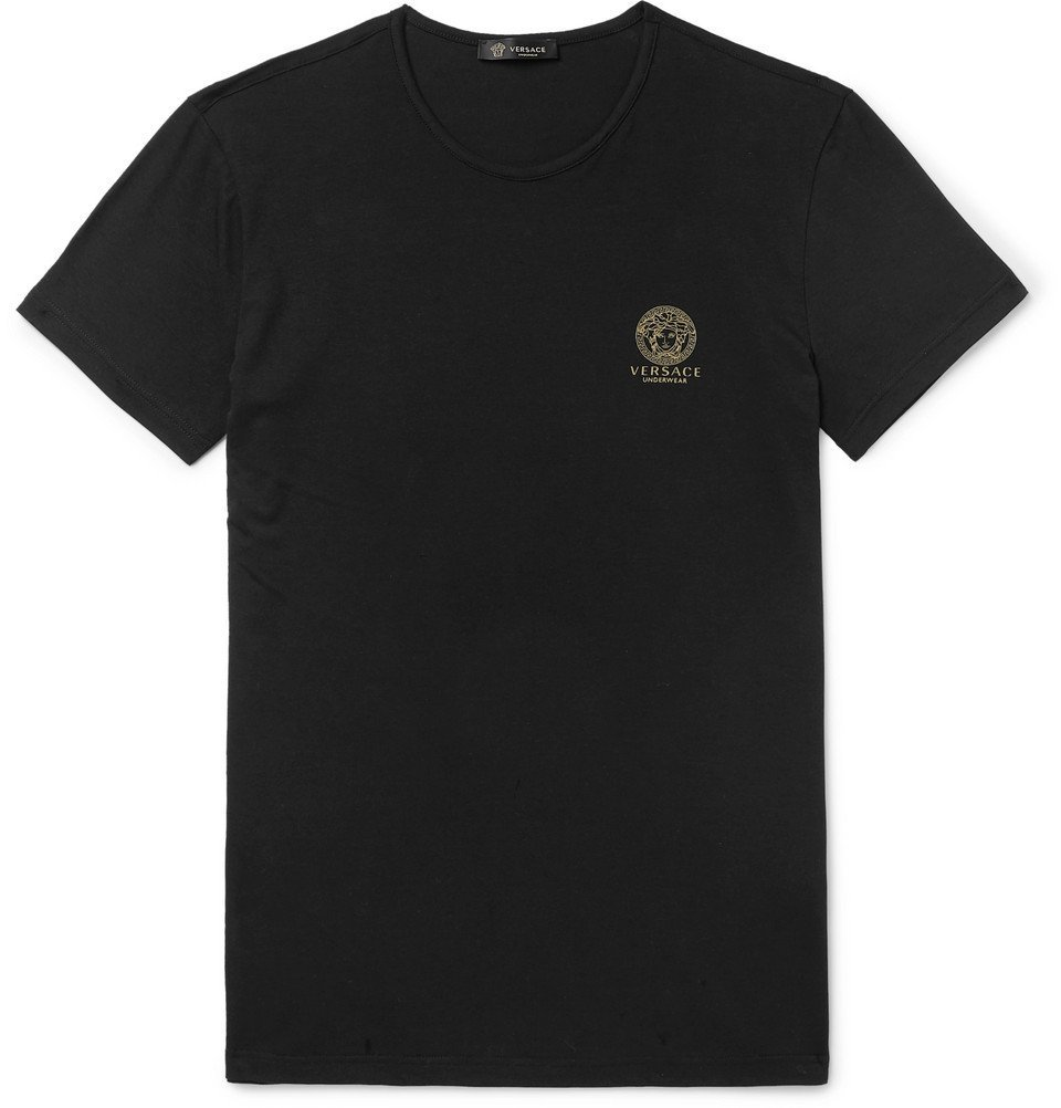 Photo: Versace - Slim-Fit Logo-Print Stretch-Cotton Jersey T-Shirt - Black