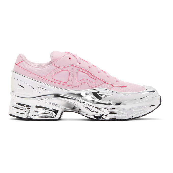 Photo: Raf Simons Pink and Silver adidas Originals Edition Ozweego Sneakers