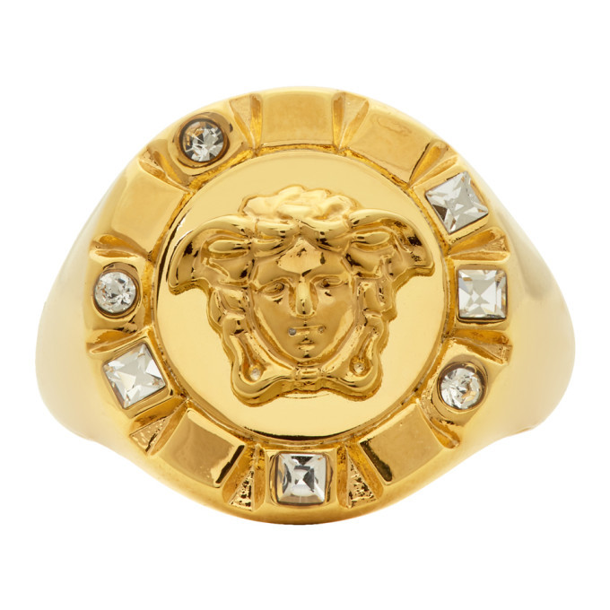 Versace Gold Palazzo Crystal Medusa Round Ring