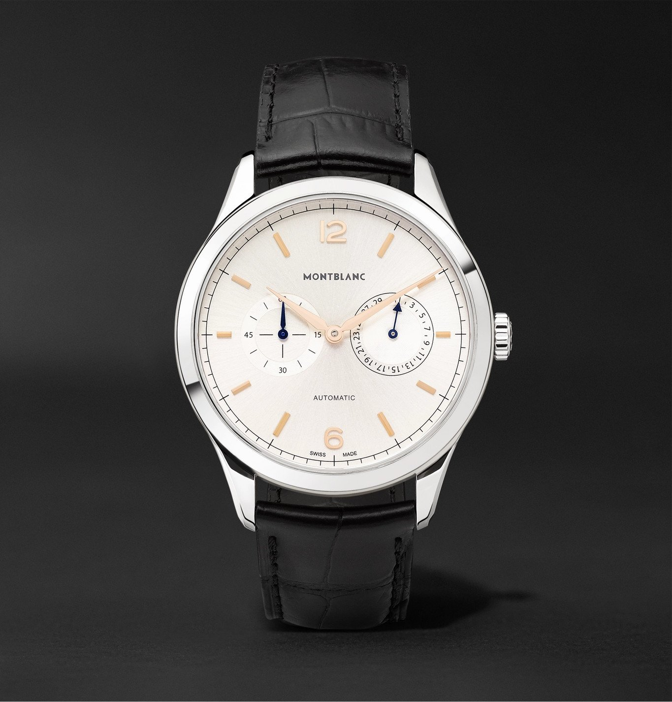 Montblanc - Heritage Chronométrie Twincounter Date Automatic 40mm Stainless Steel and Alligator Watch, Ref. No. 114872 - White