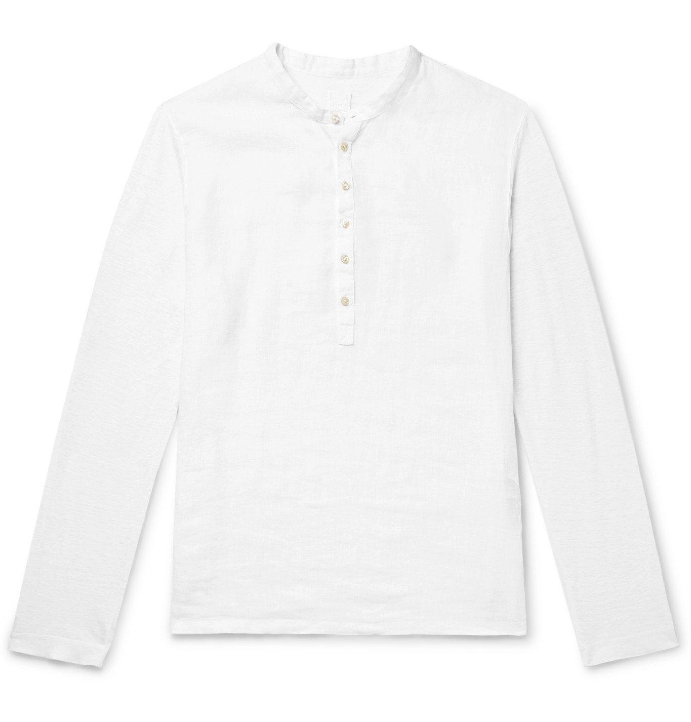 Photo: 120% - Garment-Dyed Linen Henley T-Shirt - White