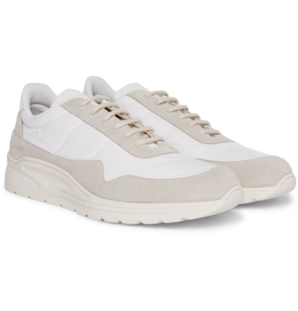 Photo: Common Projects - Cross Trainer Suede, Nylon and Leather Sneakers - White