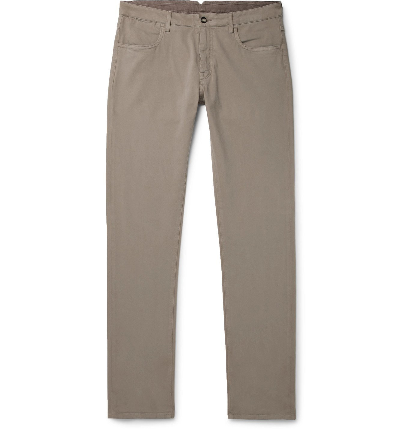 Photo: Canali - Stretch Cotton and Cashmere-Blend Chinos - Neutrals