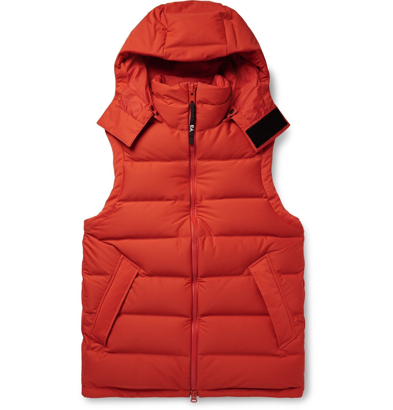 Photo: Y-3 - Logo-Print Quilted Shell Down Hooded Gilet - Orange