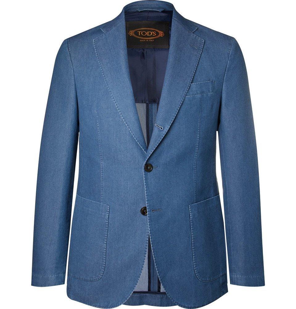 Photo: Tod's - Blue Slim-Fit Washed-Denim Blazer - Men - Blue