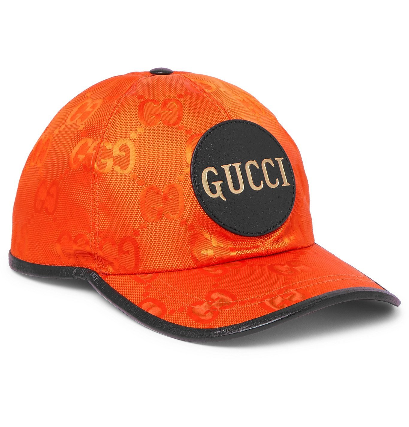 Photo: Gucci - Logo-Appliquéd Leather-Trimmed ECONYL Baseball Cap - Orange