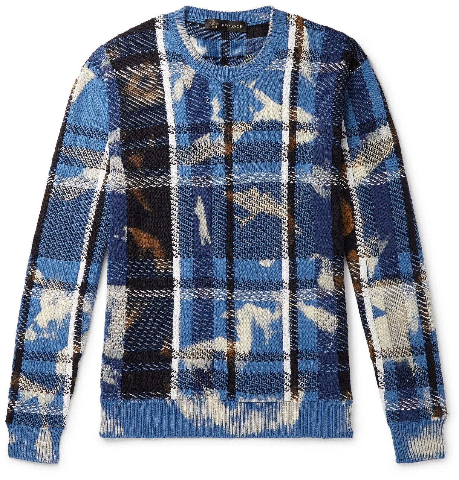 Photo: Versace - Distressed Checked Cotton Sweater - Blue