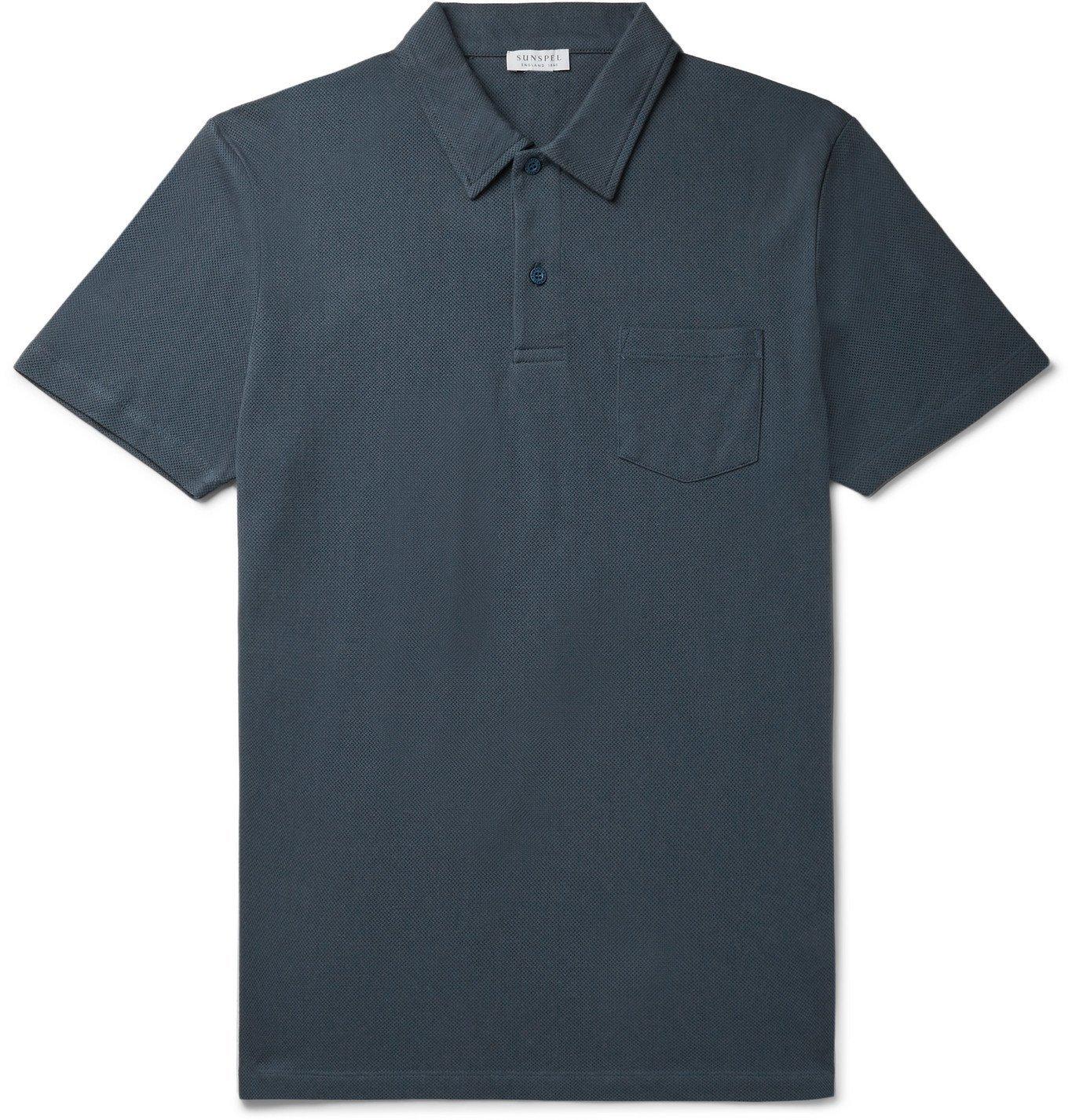 Sunspel - Riviera Slim-Fit Cotton-Mesh Polo Shirt - Blue