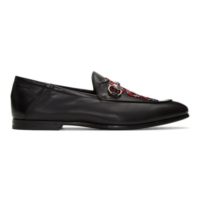 Photo: Gucci Black Embroidered Snake Loafers