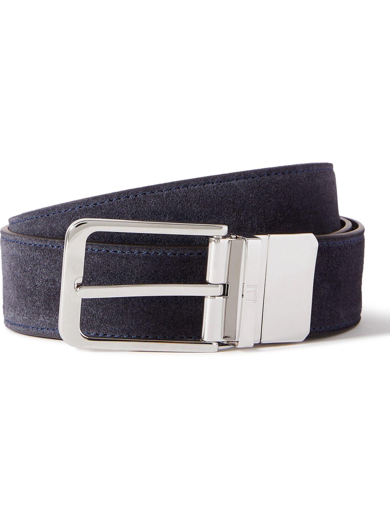 DUNHILL - 3.5cm Suede Belt - Blue