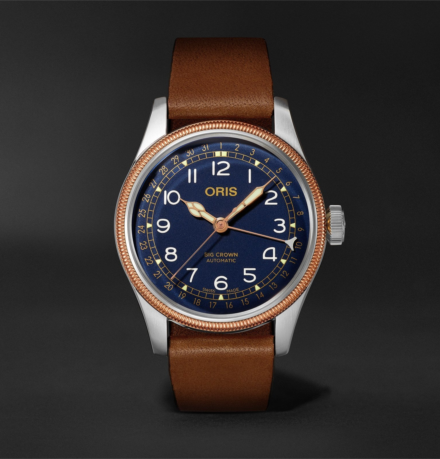 Photo: Oris - Big Crown Pointer Date Automatic 40mm Stainless Steel, Bronze and Leather Watch, Ref. No. 01 754 7741 4365-07 5 20 58 - Blue