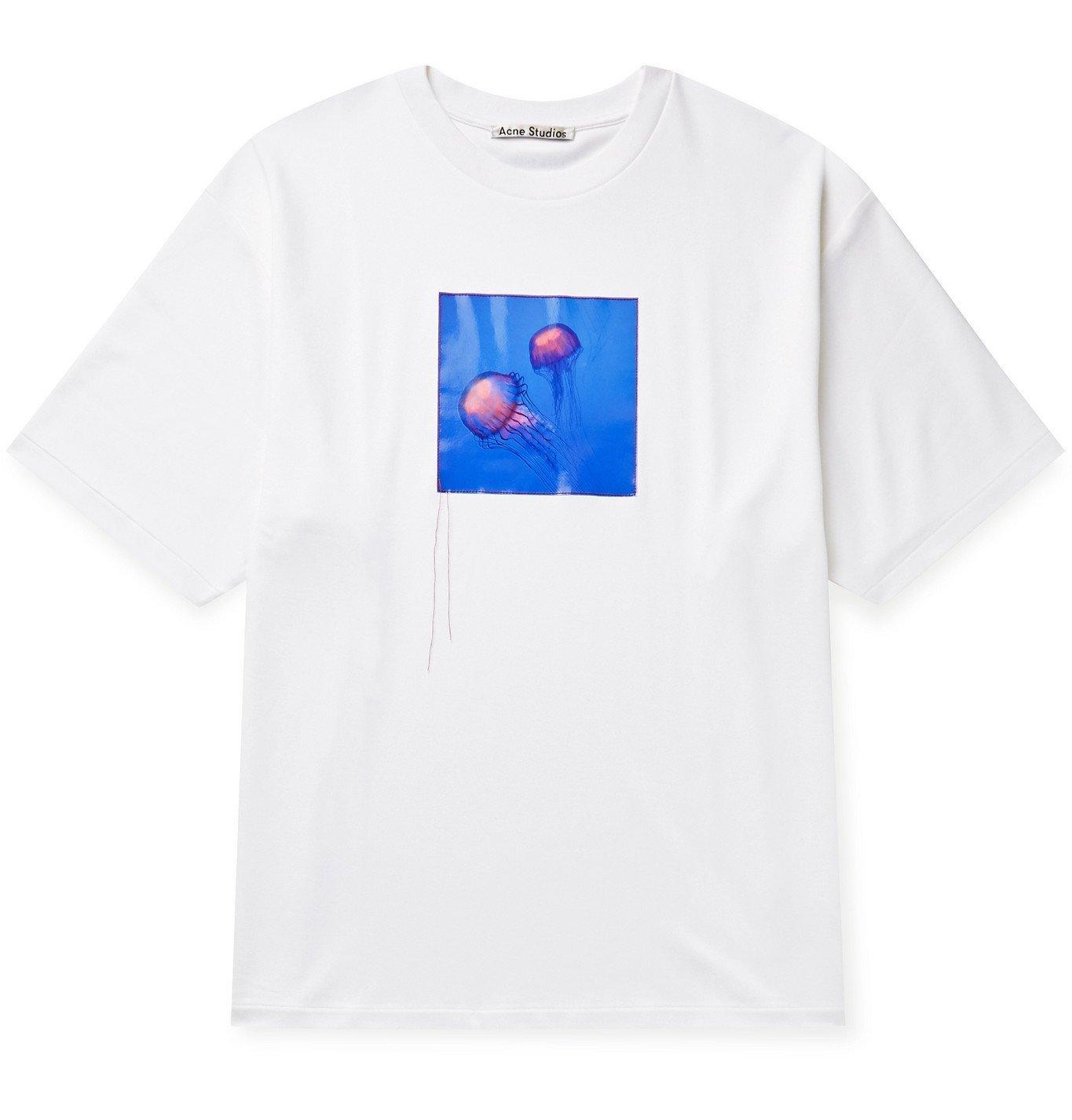 Photo: Acne Studios - Oversized Appliquéd Cotton-Blend Jersey T-Shirt - Neutrals