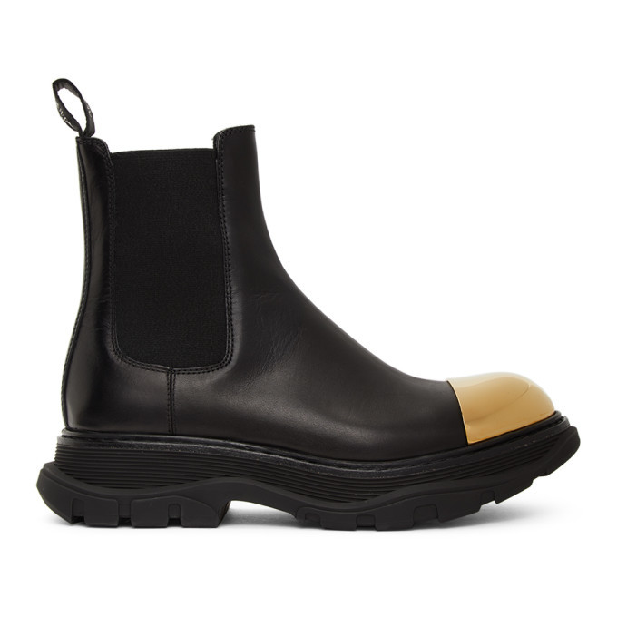 Photo: Alexander McQueen Black and Gold Shiny Toe Chelsea Boots