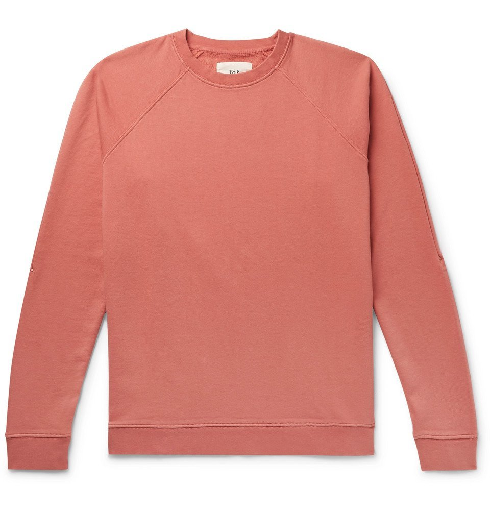 Photo: Folk - Rivet Garment-Dyed Loopback Cotton-Jersey Sweatshirt - Coral